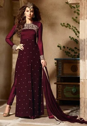 Sale at Utsav Fashion  Discount on Dresses and Indian Clothes Shopping Embroidered Georgette and Art Silk Pakistani Suit in Wine