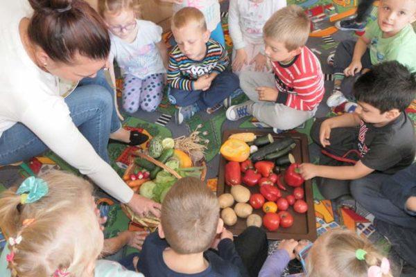 Děti s učitelem rozebrat zeleninu na podlaze