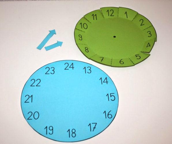 Kellon minuutti nuoli osoittaa 27 minuuttia