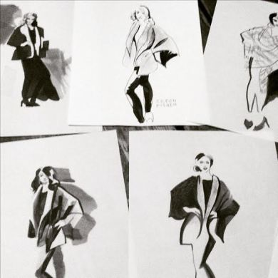 Fashion Illustration   Melody Owens Art Fashion Illustration Sketches for Eileen Fisher