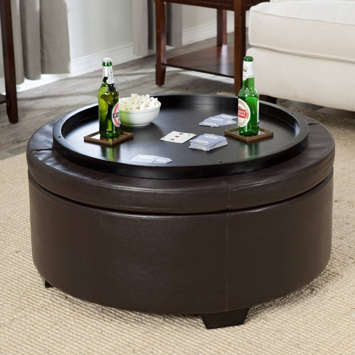 Large Round Storage Ottoman Coffee Table