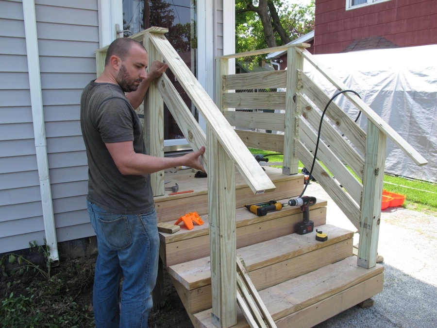 Diy Front Porch Railings Merrypad | Front Porch Stair Railing | Single Step | Outdoor | Rail | Pressure Treated | White