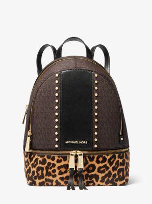 Rhea Medium Studded Logo And Leopard Calf Hair Backpack