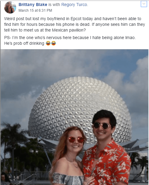 Lost Boyfriend at Epcot