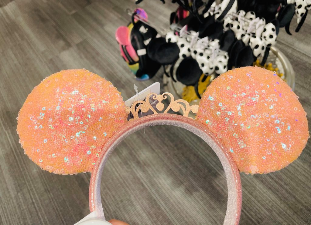 Peach Minnie Mouse Ears with Crown