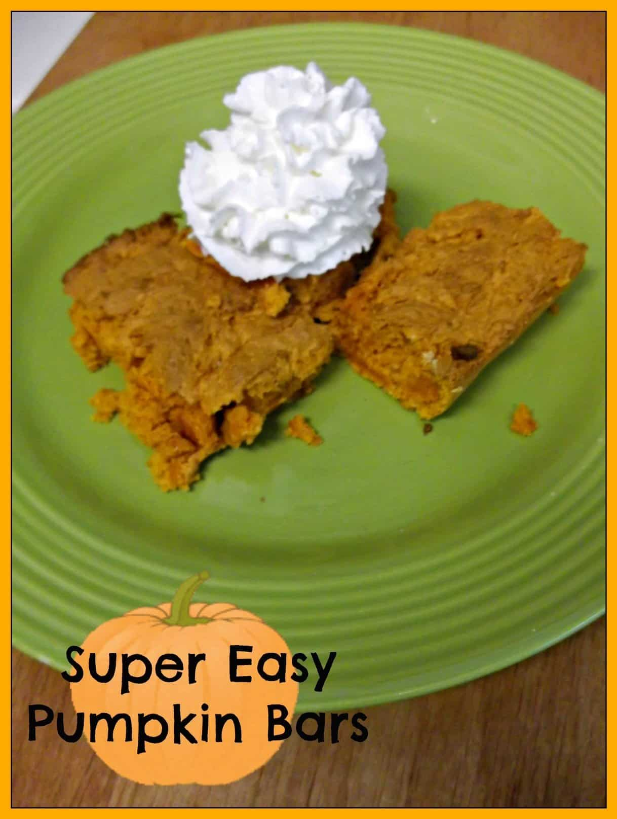 2 ingredient Pumpkin Bars