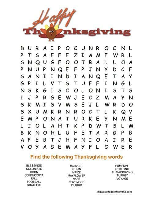 Free Thanksgiving Word Search Printable