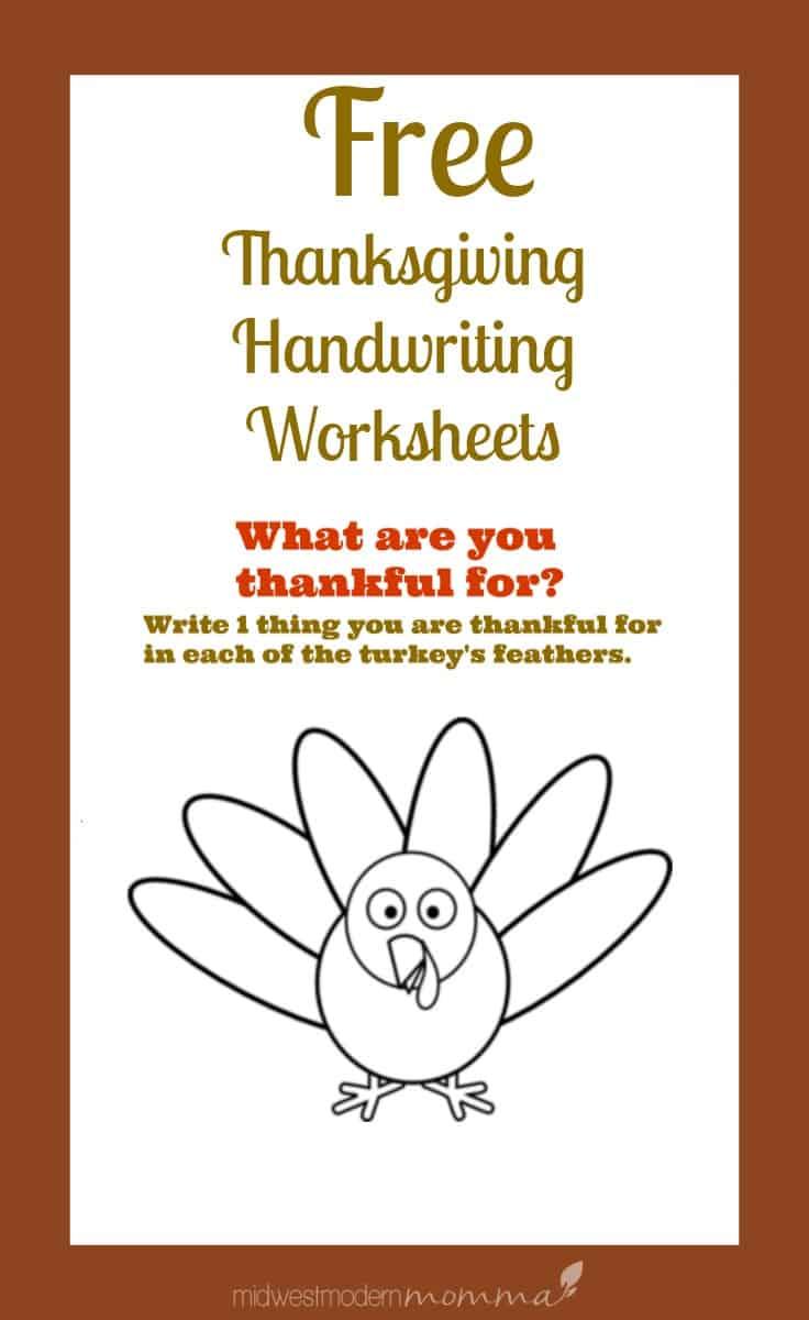 Free Thanksgiving Handwriting Worksheets