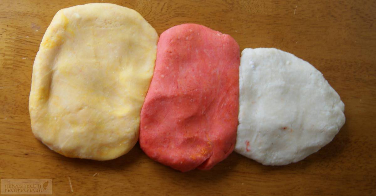 Homemade Playdough Recipe: Our Candy Corn Homemade Playdough Recipe is a great fall craft that everyone will love to make! Make this easy dough today!