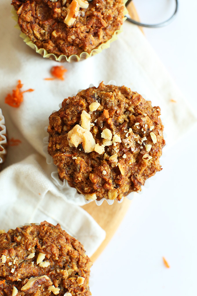 Healthy Carrot Muffins   Minimalist Baker Recipes Easy  wholesome Carrot Walnut Muffins  Just ONE bowl required   vegan   glutenfree