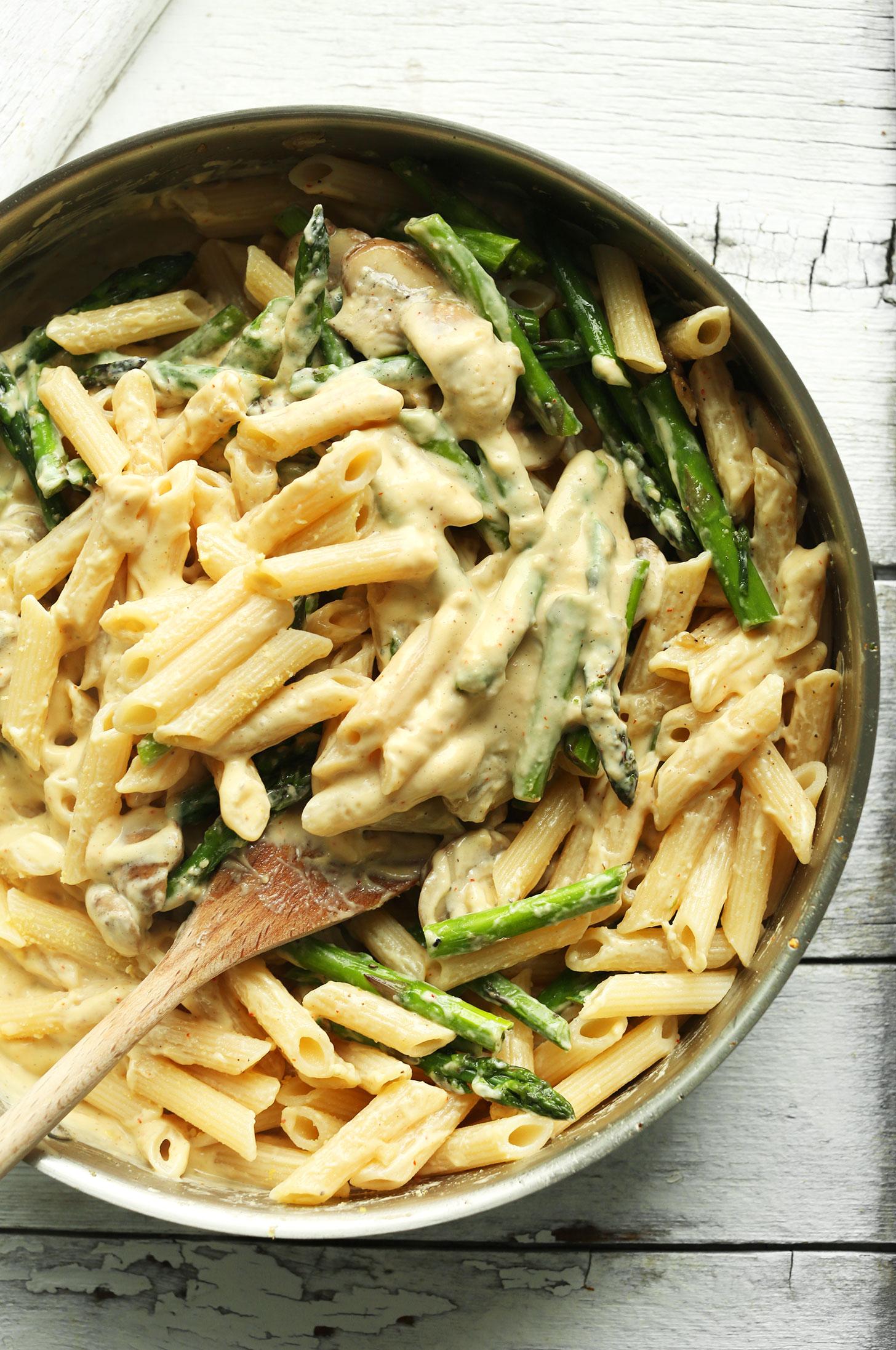 Creamy Mushroom Asparagus Pasta Recipe Minimalist Baker
