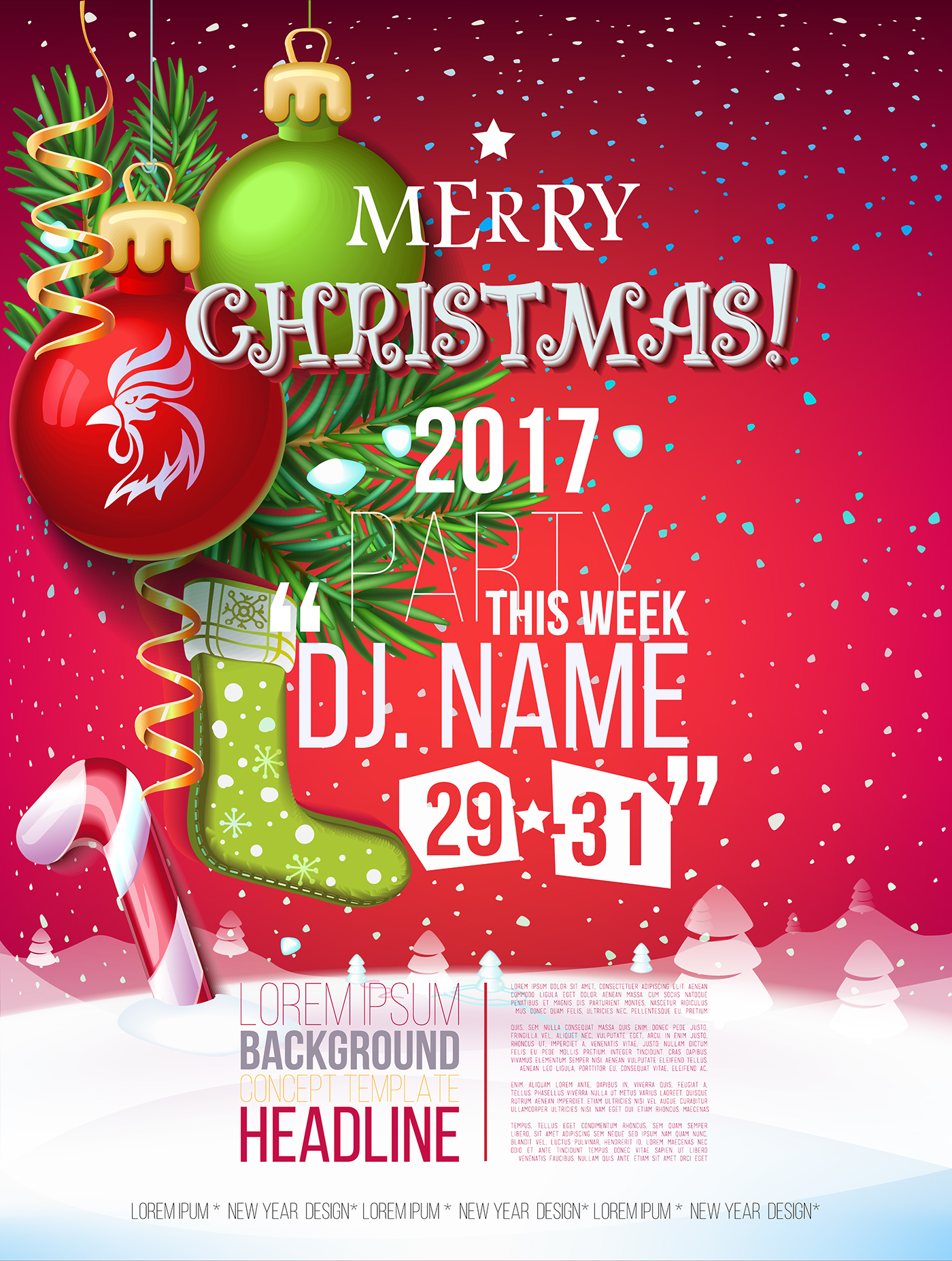 New 2017 And Happy Year Christmas Greetings Merry