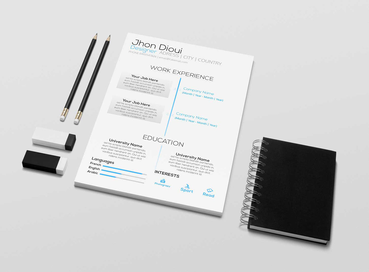 Free resume template psd on Behance