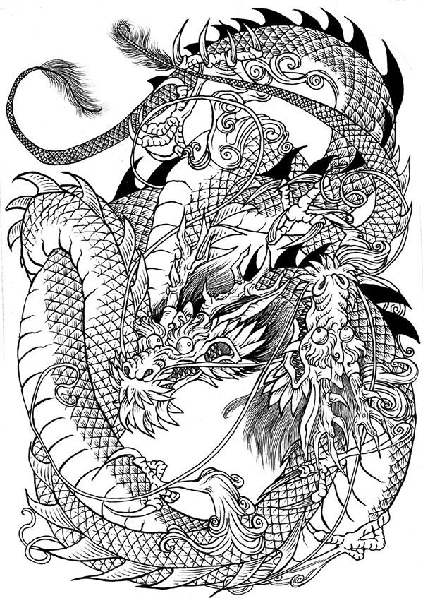 Dragon Tattoo Style Drawing