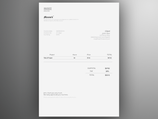 Invoice Template   Free AI on Behance