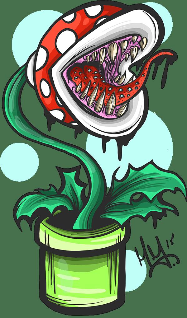 Super Piranha Drawing Plant Mario