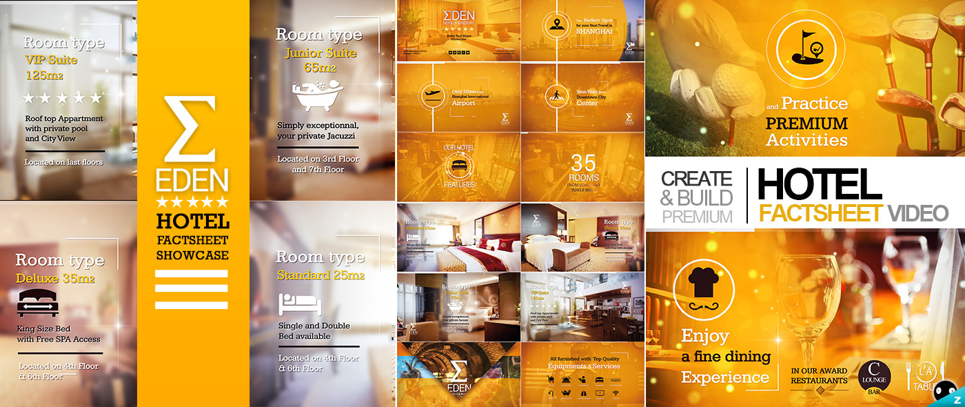 Hotel Fact sheet Showcase on Behance The Hotel Fact sheet Showcase offers a powerful video tool  to quickly  highlight your hotel fact sheet info s in an efficient style