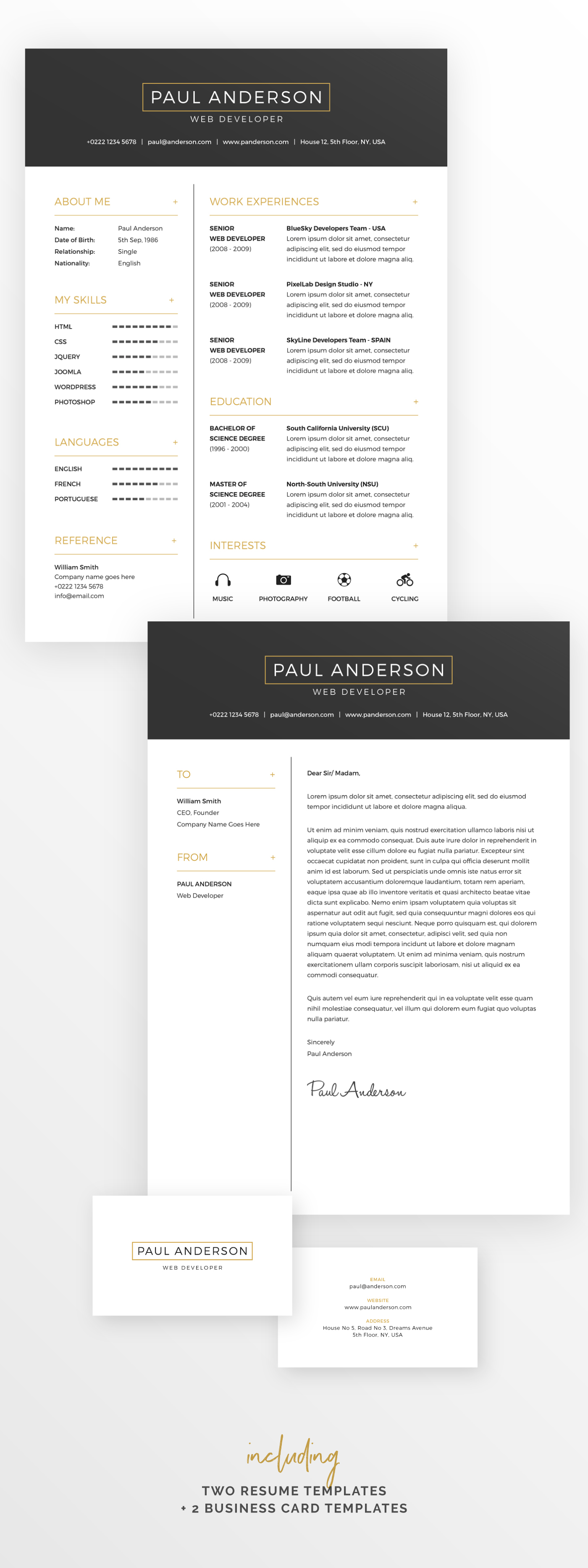 Free Resume   Cover Letter Template   Business Cards on Behance Download for Free