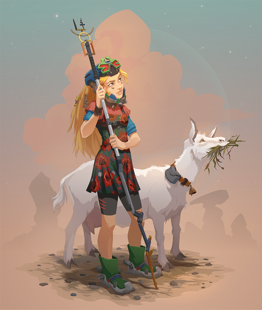 girl and the goat - 600×711