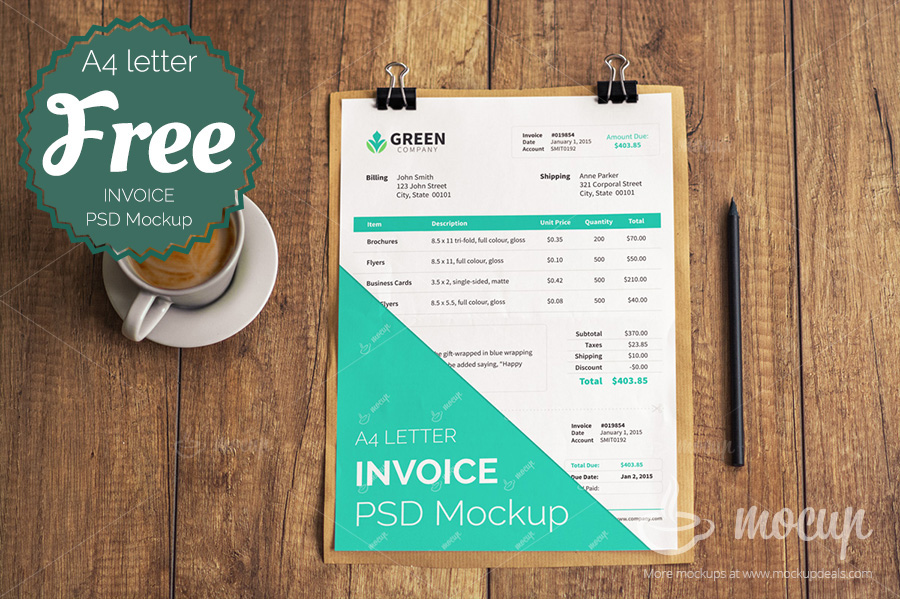 Free Invoice PSD Mockup template on Behance