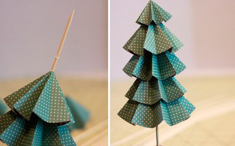 Картоннан Рождестволық ағаш оригами