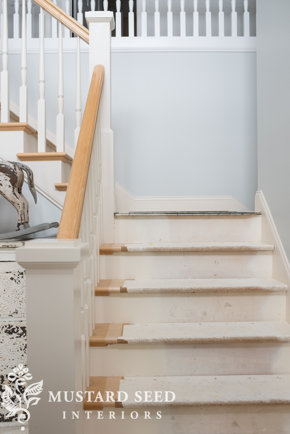 Half Finished Stairs Miss Mustard Seed | Replacing Particle Board Stair Treads | Basement Stairs | Carpeted Stairs | Plywood | Stair Nosing | Stair Case