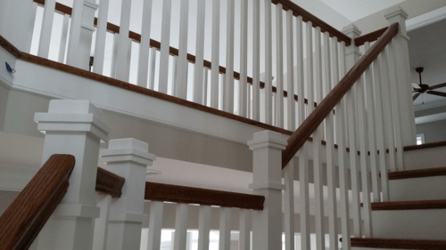 Craftsman Style Stair Railing Mitre Contracting Inc | Shaker Style Stair Railing | White | Exterior | Loft | Farmhouse Front Door | Square