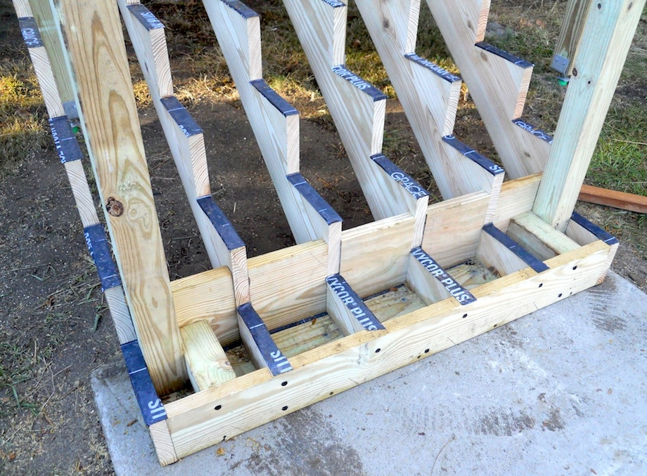 Attaching Bottom Deck Posts Thisiscarpentry | Composite Exterior Stair Treads | Blocking | Indoor | Deck Trex | Picture Framing | Patio
