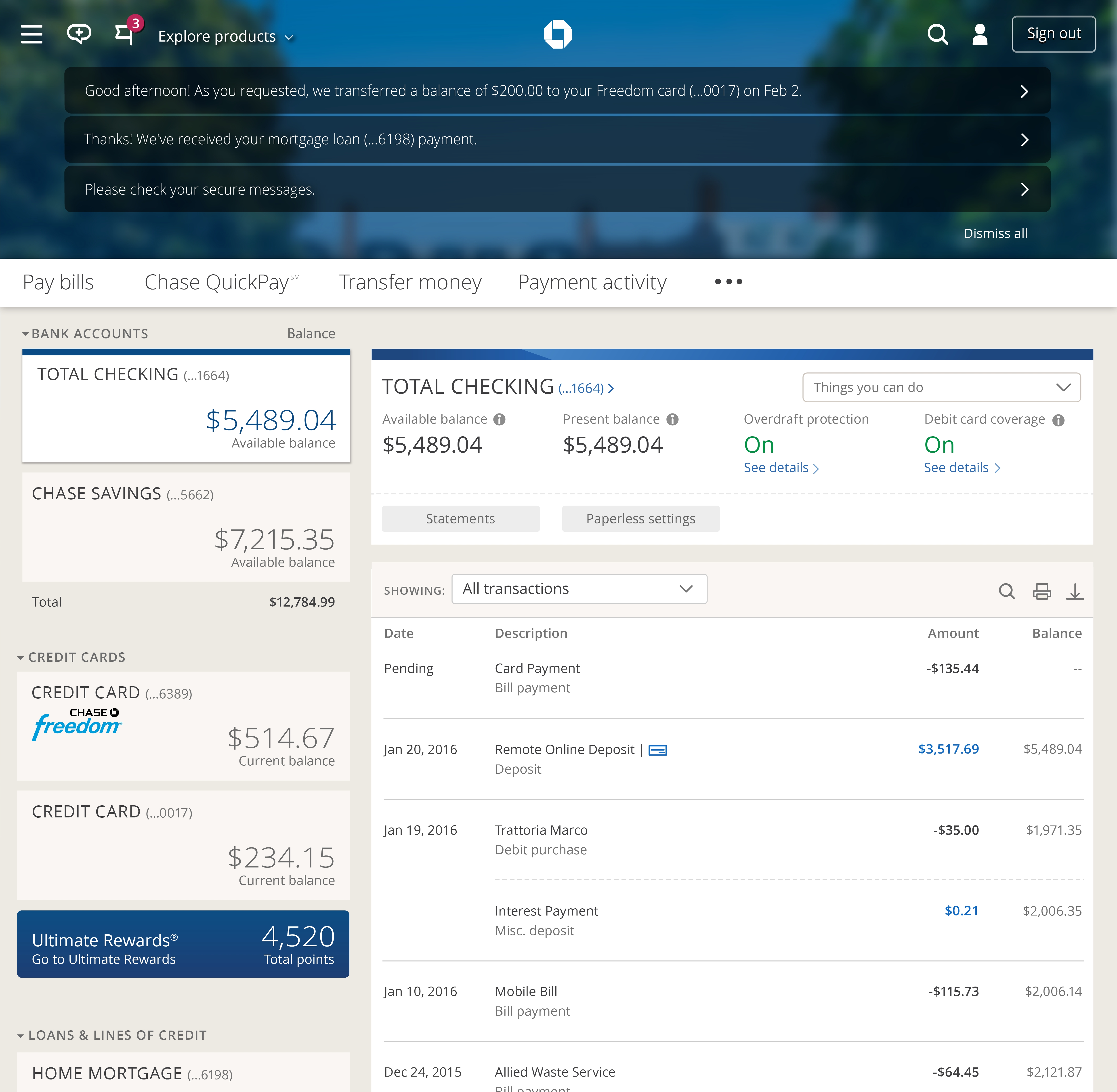 Chase Online Personal Banking