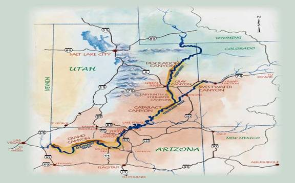 Map of Colorado Plateau   Moab Rafting and Canoe Company Map of Colorado Plateau