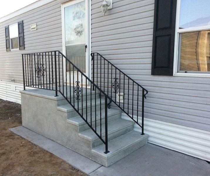 Everything You Need To Know About Mobile Home Steps Mobile Home   Pressure Treated Stair Handrail   Basic Deck   Deck Rail   Cedar   Guard   Concrete Step