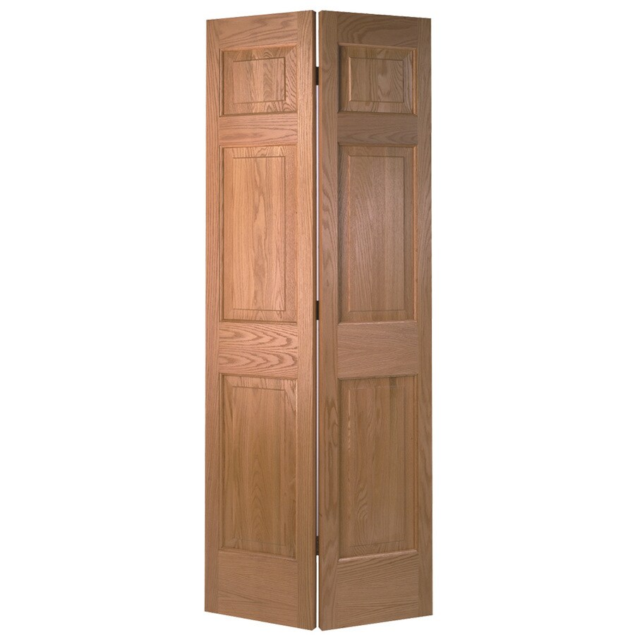 Shop Masonite Unfinished 6 Panel Wood Oak Bifold Door With