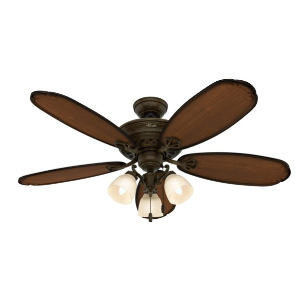 Shop Prestige by Hunter Crown Park 54 in Tuscan Gold Indoor Ceiling     Prestige by Hunter Crown Park 54 in Tuscan Gold Indoor Ceiling Fan with  Light Kit