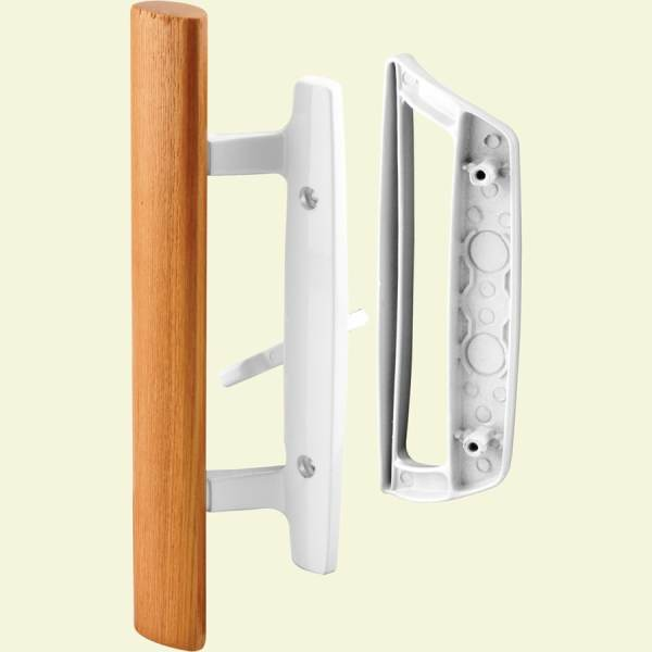 Shop Prime Line White Patio Door Handle Set with Wooden Handle at     Prime Line White Patio Door Handle Set with Wooden Handle