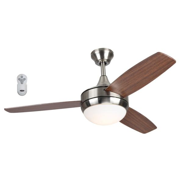 Shop Ceiling Fans at Lowes com Harbor Breeze Beach Creek 44 in Brushed Nickel LED Indoor Ceiling Fan with  Light Kit
