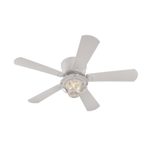 Shop Harbor Breeze Merrimack 52 in White Indoor Outdoor Flush Mount     Harbor Breeze Merrimack 52 in White Indoor Outdoor Flush Mount Ceiling Fan  with Light