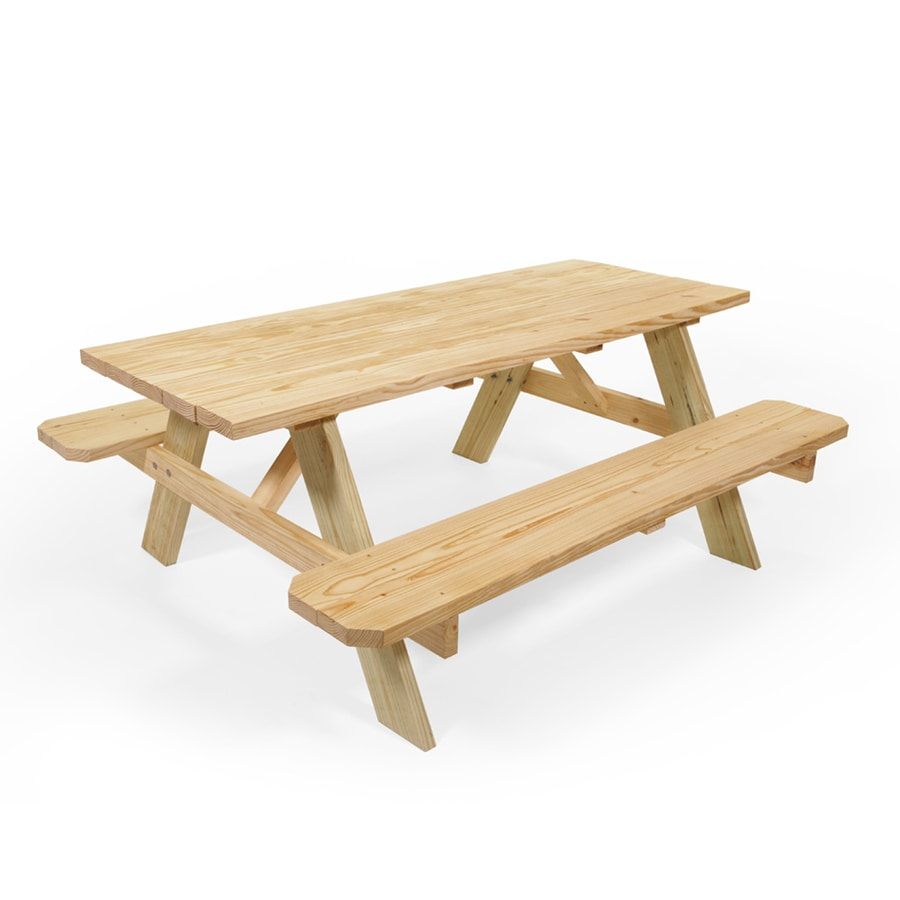 72 In Brown Southern Yellow Pine Rectangle Picnic Table At