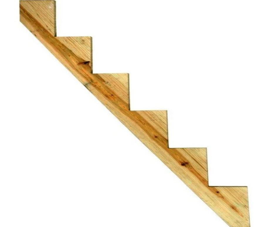 Severe Weather 6 Step Pressure Treated Pine Deck Stair Stringer In | Pre Built Wooden Steps | Oak | Exterior | Pre Built | Box | Prefabricated