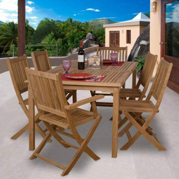 Shop International Home Amazonia Teak 7 Piece Brown Wood Frame Patio     International Home Amazonia Teak 7 Piece Brown Wood Frame Patio Dining Set