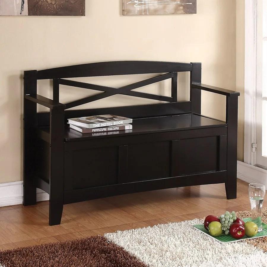 Osp Home Furnishings Metro Country Black Storage Bench At