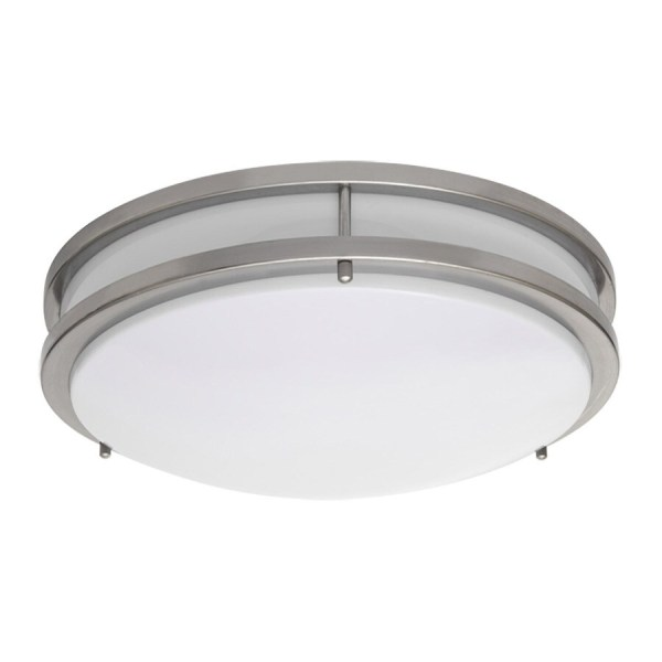 Shop Amax Lighting 14 in W Brushed nickel LED Flush Mount Light at     Amax Lighting 14 in W Brushed nickel LED Flush Mount Light