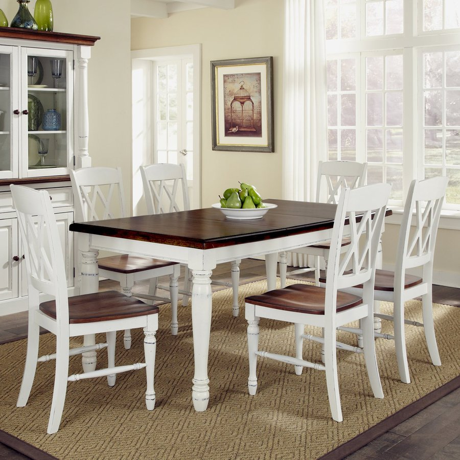Shop Home Styles Monarch White Oak 7 Piece Dining Set with Dining     Home Styles Monarch White Oak 7 Piece Dining Set with Dining Table