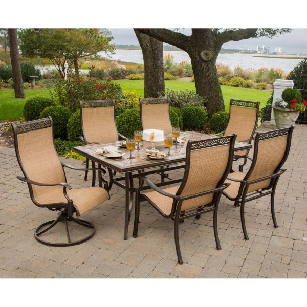 Shop Hanover Outdoor Furniture Monaco 7 Piece Tan Metal Frame Patio     Hanover Outdoor Furniture Monaco 7 Piece Tan Metal Frame Patio Set with  Cedar Hanover Sling
