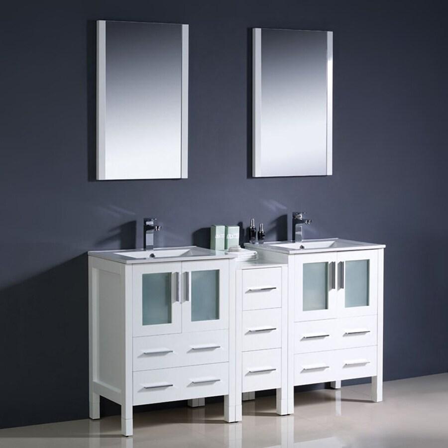 Fresca Torino White Double Sink Vanity With White Ceramic