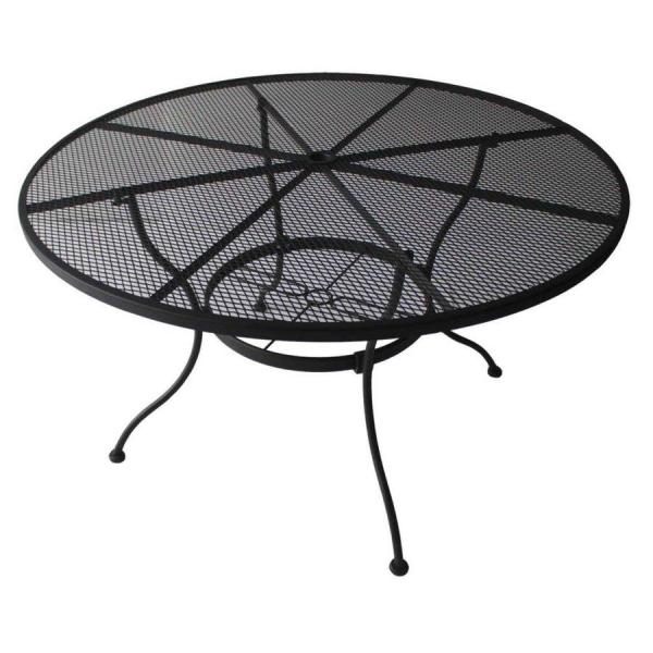 Shop Patio Tables at Lowes com Garden Treasures Davenport 48 in W x 48 in L Round Steel Dining Table