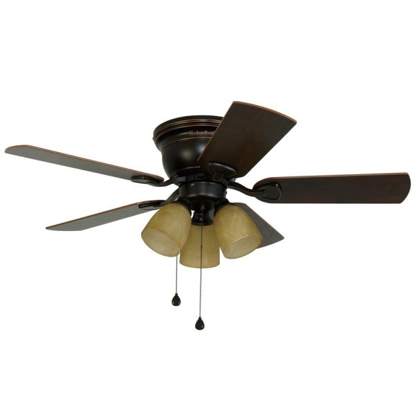 Shop Harbor Breeze Centreville 42 in Oil Rubbed Bronze Indoor Flush     Harbor Breeze Centreville 42 in Oil Rubbed Bronze Indoor Flush Mount  Ceiling Fan with Light