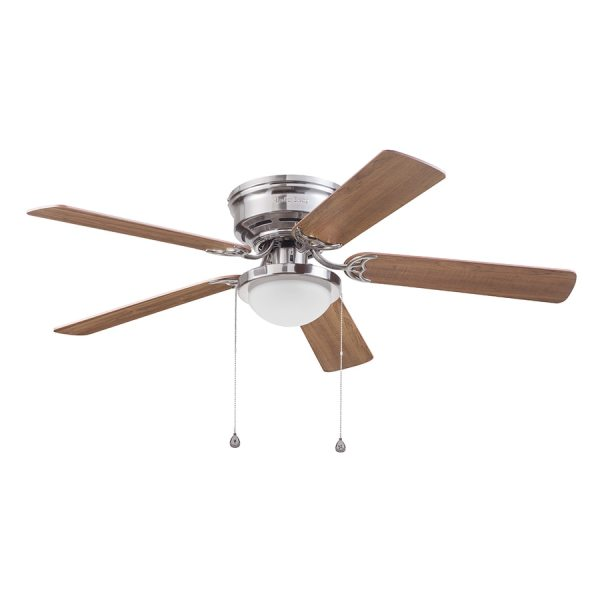 Shop Harbor Breeze Armitage 52 in Brushed Nickel Indoor Flush Mount     Harbor Breeze Armitage 52 in Brushed Nickel Indoor Flush Mount Ceiling Fan  with Light Kit