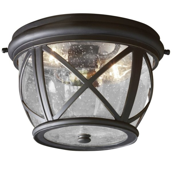 Shop Outdoor Flush Mount Lights at Lowes com allen   roth Castine 10 9 in W Rubbed Bronze Outdoor Flush Mount Light