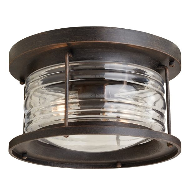 Shop Outdoor Flush Mount Lights at Lowes com allen   roth Stonecroft 12 in W Aged Bronze Outdoor Flush Mount Light
