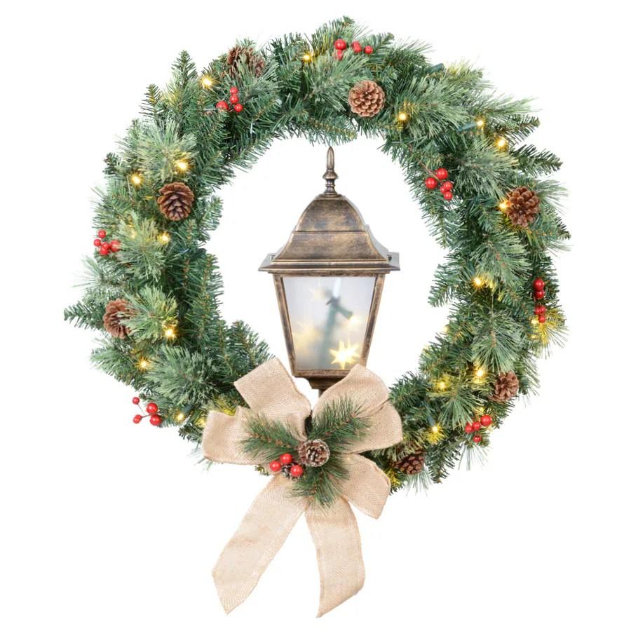 Artificial Lit Window Wreaths